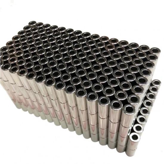 Neodímium gyűrű mágnes,  4mm x 2mm x 8mm, N35 diametrikus, ezüst