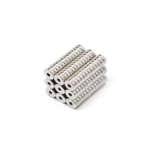 Neodímium gyűrű mágnes,  6mm x 2mm x 2mm, N35