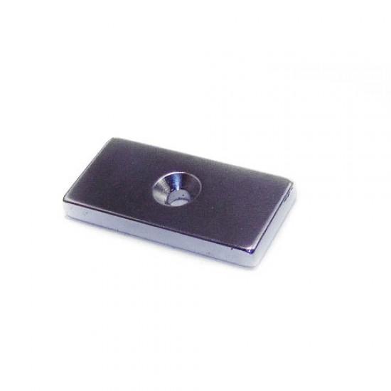 Neodímium hasáb mágnes,  40mm x 20mm x 5mm, N48, süllyesztett