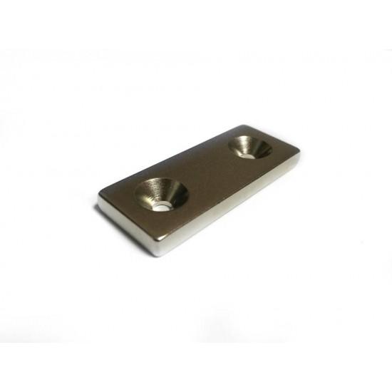 Neodímium hasáb mágnes,  50mm x 20mm x 5mm, N48, süllyesztett