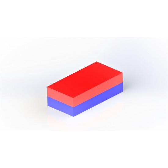 Neodímium hasáb mágnes,  40mm x 10mm x 5mm, N48, süllyesztett