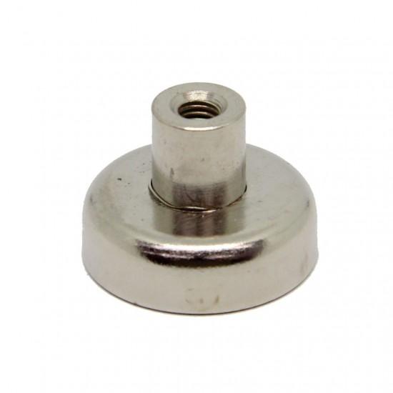 Neodímium POT mágnes,  25 mm, száras, belső menetes