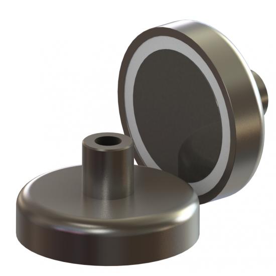 Neodímium POT mágnes,  16 mm, száras, belső menetes