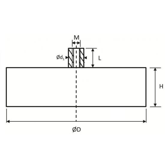 Neodímium POT mágnes,  gumibevonú 43 mm, száras, belső menetes